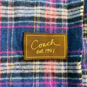 COACH Plaid Wool Cashmere Fringe Edge Scarf! ❤️